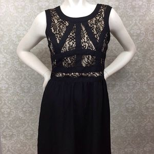 ❤️Gianni Bini Black Nude Crochet Layer Party Dress